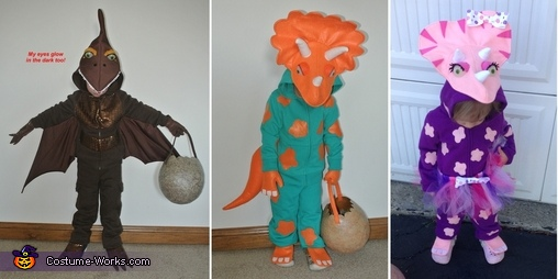 Three Little Dinosaurs Showing Off Their Faces, Three Little Dinosaurs Costume