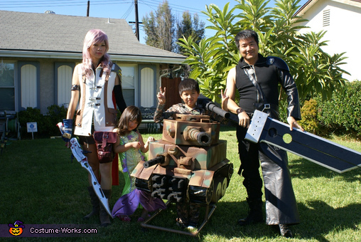 Swords are also homemade with wood, Tiger Tank Costume