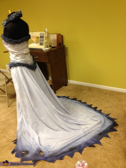 This photo is of the dress as it was being finished. , Tim Burton's Corpse Bride Costume