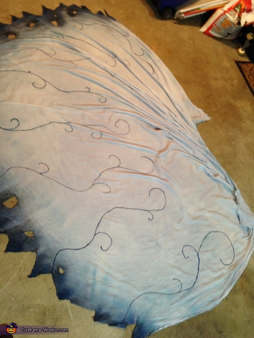 This photo shows the veil, and how I painted it. , Tim Burton's Corpse Bride Costume