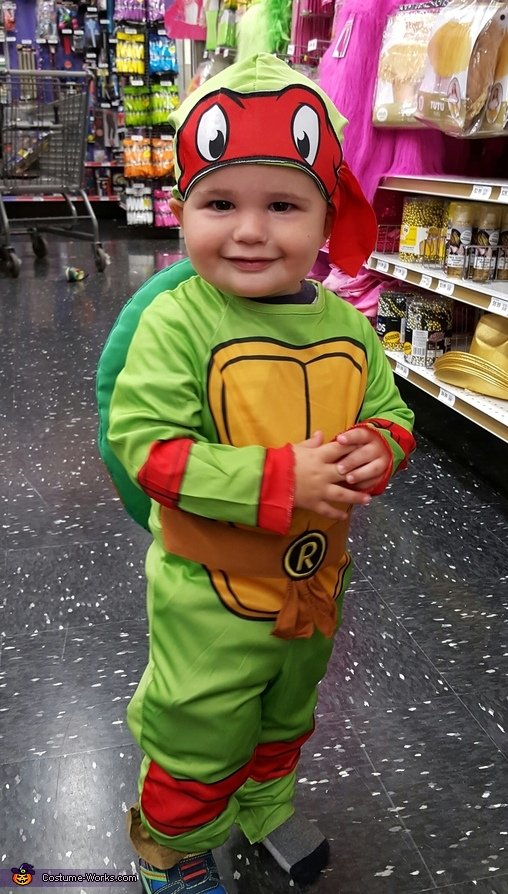 Roman (son) as Raphael, TMNT Family: Casey Jones, April Oneil, and Raphael Costume