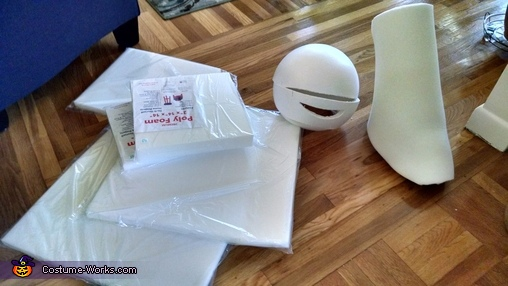 Some materials include High Density foam and styrofoam ball, TMNT Leo Costume