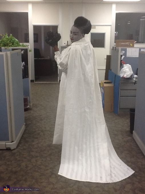 Back view of cape with braided toilet paper trim, Toilet Paper Bride of Frankenstein Costume