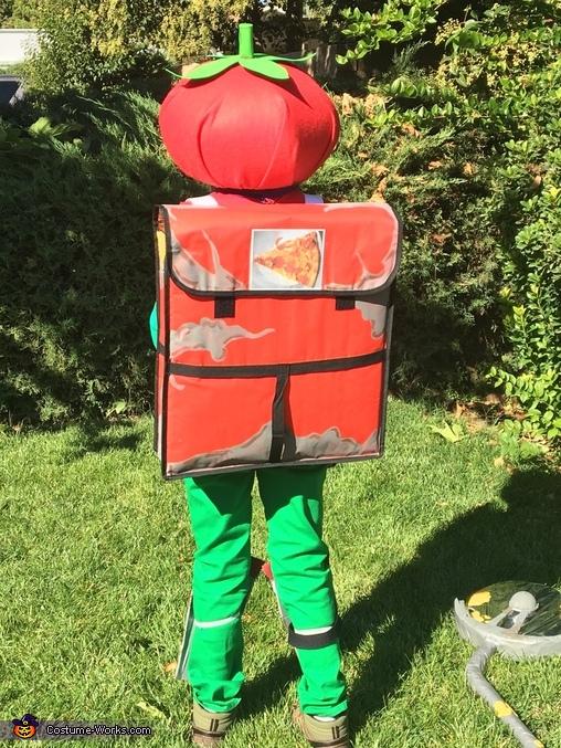 Back view, Tomato Head Fortnite Costume