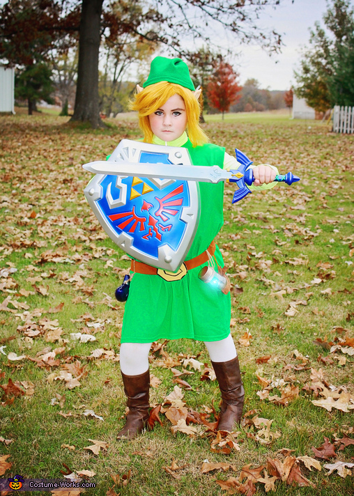 Toon Link complete with Master sword, Shield, ocarina, rupee bag, and 'fairy' (LED light), Toon Link Costume