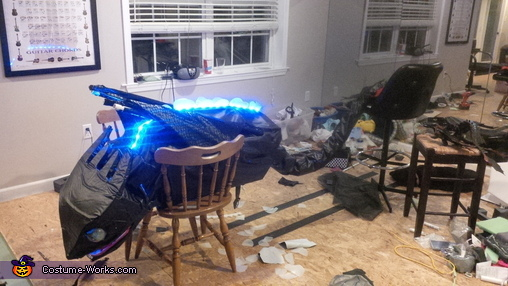 Full Costume Stretched out with LEDs Lit, Toothless Costume