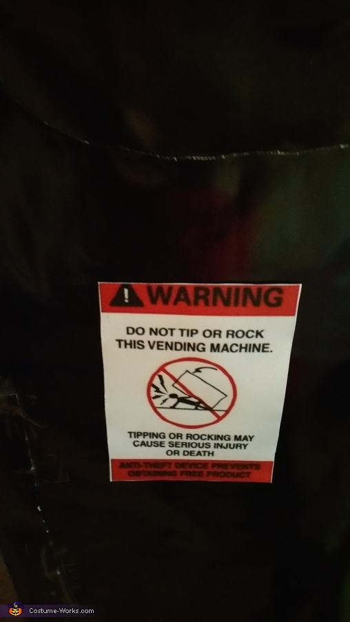 warning label, Tootsie's Treats Costume