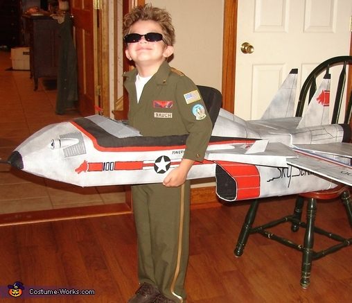 Jet Pilot Maverick and his Top Gun Fighter Jet Costume