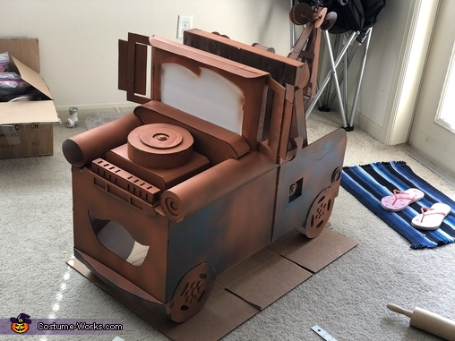 Spray Painting done, Tow Mater Costume