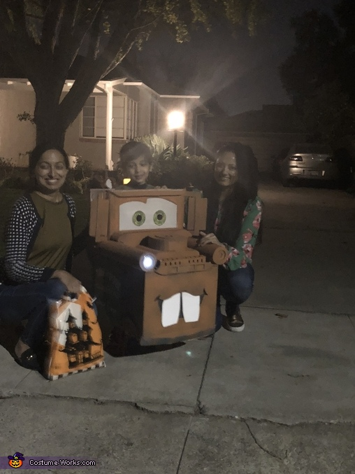 When he went on trick or treat, Tow Mater Costume