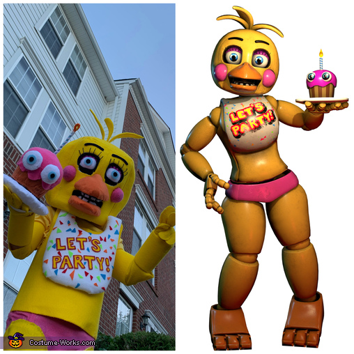 Toy Chica and the photo we based the costume on., Five Nights at Freddys - Toy Chica and Fun Time Freddy Costume