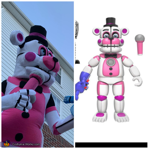 Fun Time Freddy and the photo we based the costume on., Five Nights at Freddys - Toy Chica and Fun Time Freddy Costume