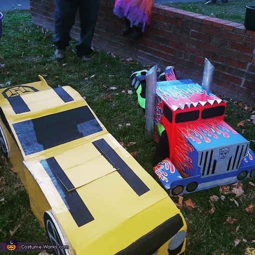 Trick or treat night, 1 of the many times they transformed, Tranforming Transformers Costume
