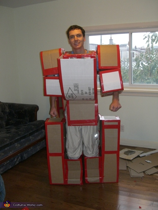 Homemade Transformer Costume of Cardboard Boxes