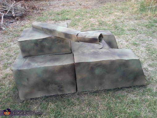 spray painted it camo, Transforming Tank Costume