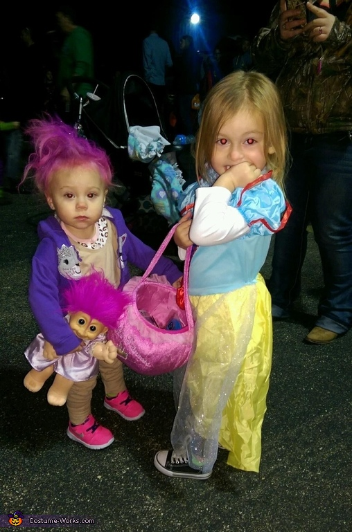 Arianna as a Treasure Troll and her cousin as Snow White., Treasure Troll Baby Costume