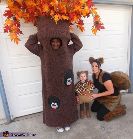 tree acorn and squirrel family costume