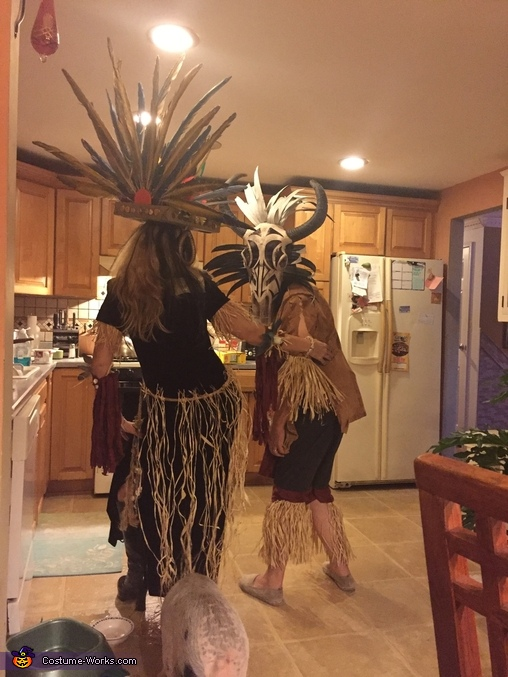 Side view of tribal warrior, Tribal Warrior Costume
