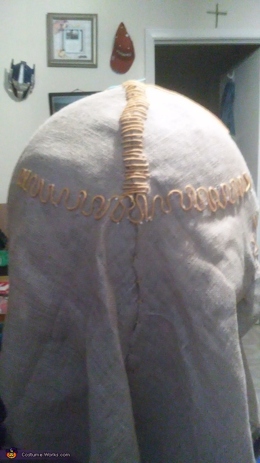 Then do much wider stitching for the mouth, Trick 'r Treat Sam Costume