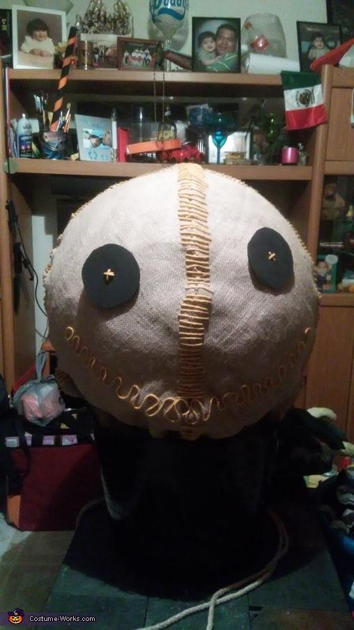 Then attach eyes to burlap, Trick 'r Treat Sam Costume