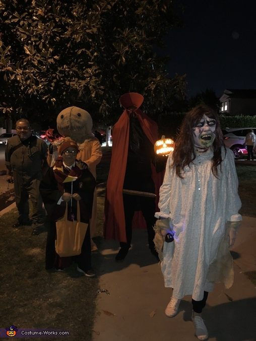 Trying to sneak up on the wizard, Trick 'R Treat Samhain Sam Costume