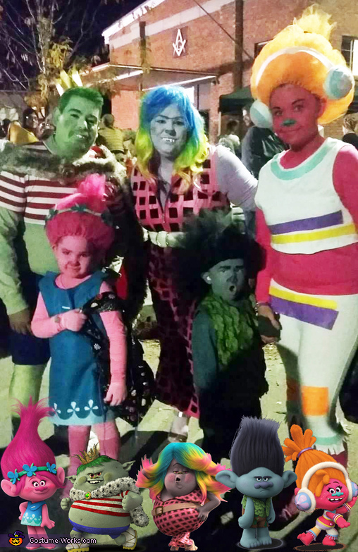 Trolls & Bergens Family Homemade Costume