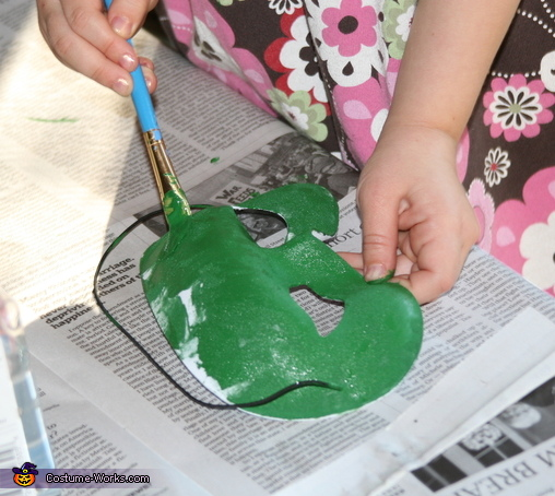 Painting the mask, Turtle Costume