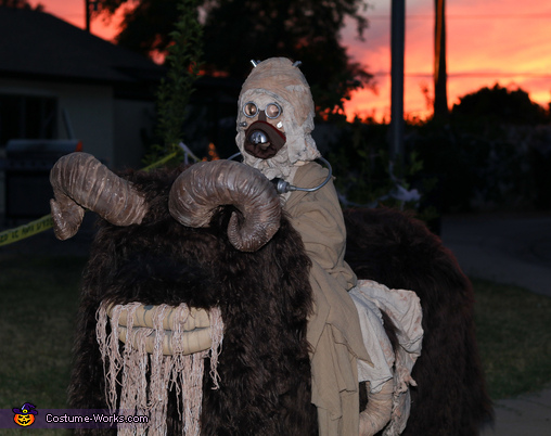Tusken Raider riding the Bantha at sunset, Tusken Raider riding a Bantha Costume