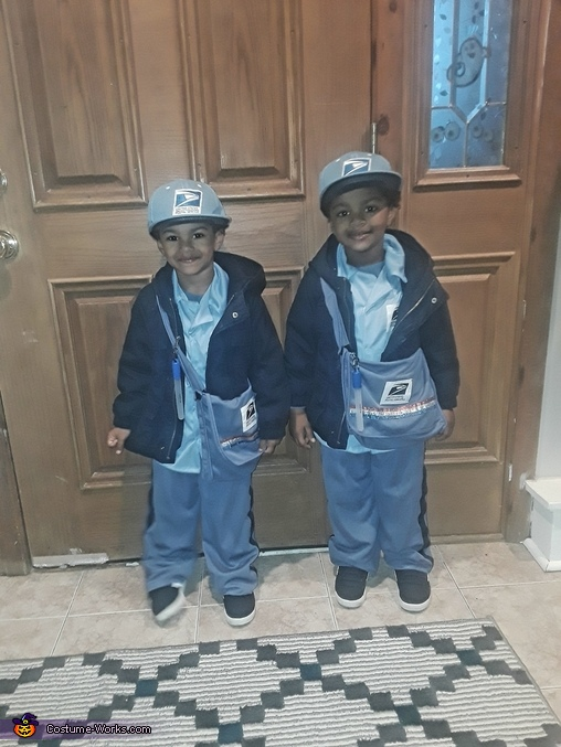 Off to deliver mail packed in our mail bags!, Twin Mailmen Costume