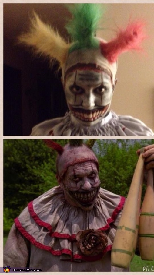 Split screen to show comparison of inspiration and my final result.  , Twisty the Clown Costume
