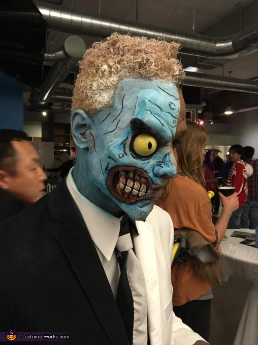 the Bd side. Latex and makeup and some elmer glue., Two-Face Costume