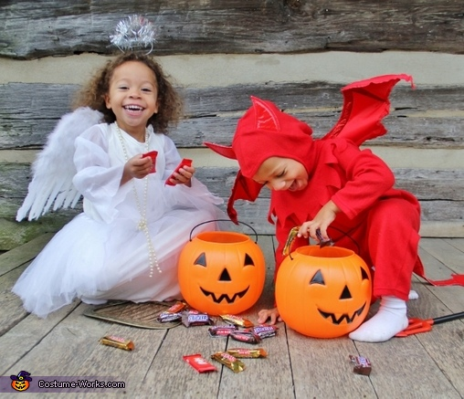 Two Devilish Angels Halloween Costumes