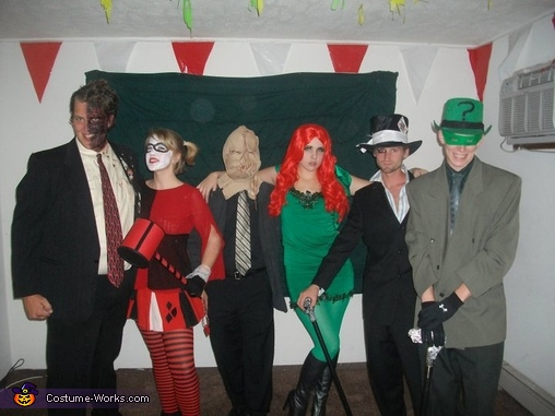 Here is the whole crew of Batman Villains. Two-Face, Harley Quinn, Sandman, Poison Ivy, The Mad Hatter, and The Riddler., Two Face Costume