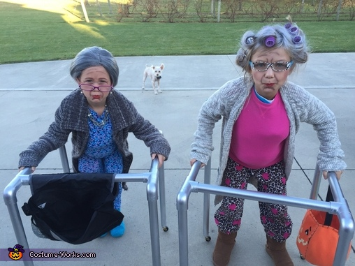 Two old Granny's with their walkers, Two Old Granny's Costume