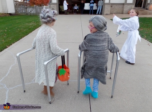 In action, Two Old Granny's Costume