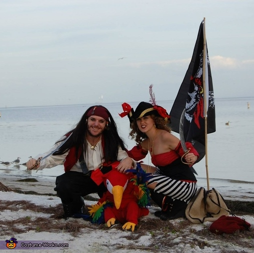 Pirate Family, Two Pirates and a Parrot Family Costume