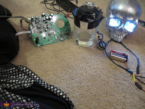 My in skull stereo system, that glass is tied to a speaker that amplifies the sound.  Because of this, you can hear my voice / music from far away., Undead Monster Skovslayer Costume