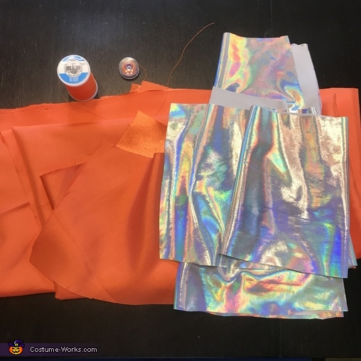 Traffic cone sewing supplies, Under Construction Costume