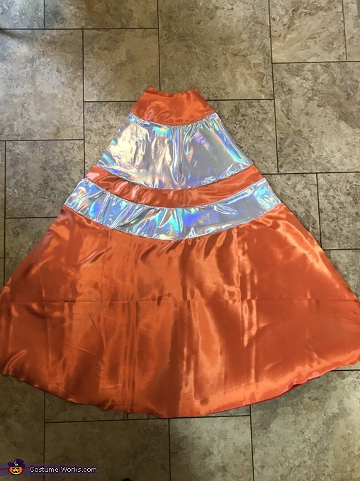Traffic cone before cutting face and arm holes, Under Construction Costume