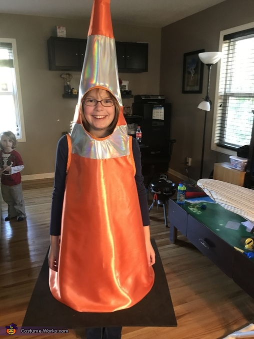 Trying on the traffic cone before attaching the base to the material, Under Construction Costume