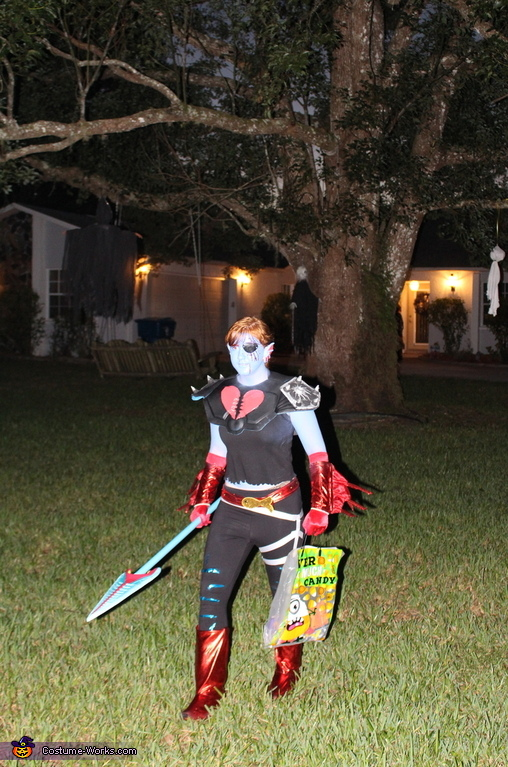 I am getting lots of candy, Underfell Undyne Costume