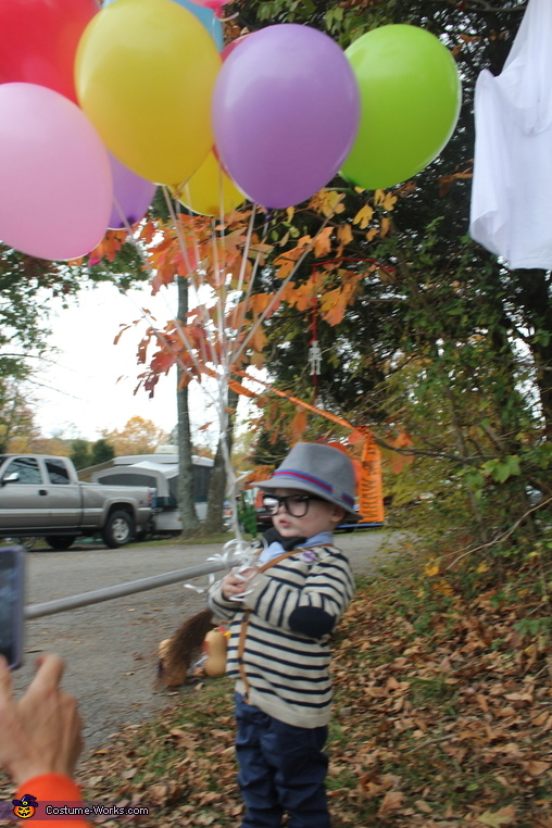 Mr. Fredrickson with cane and balloons, UP! Mr. Fredrickson, Russell, and Kevin Costume