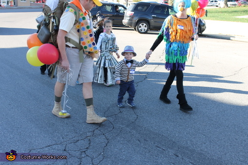 Everyone walking in a spook parade, UP! Mr. Fredrickson, Russell, and Kevin Costume