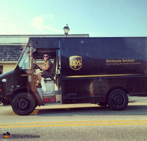 Casey working, UPS Dog Costume