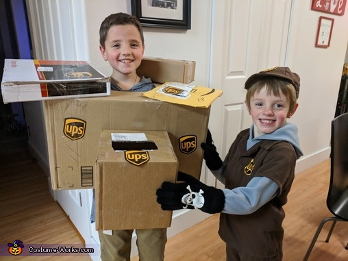 UPS Driver and Boxes Costume