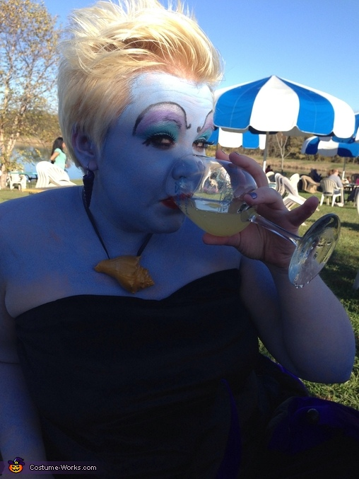 Enjoying some wine, Homemade Ursula Costume