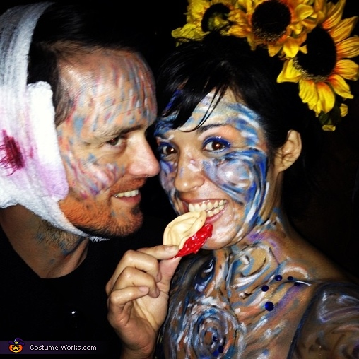 Candid photo from party (with severed ear prop), Van Gogh and his Masterpiece Couple's Costume