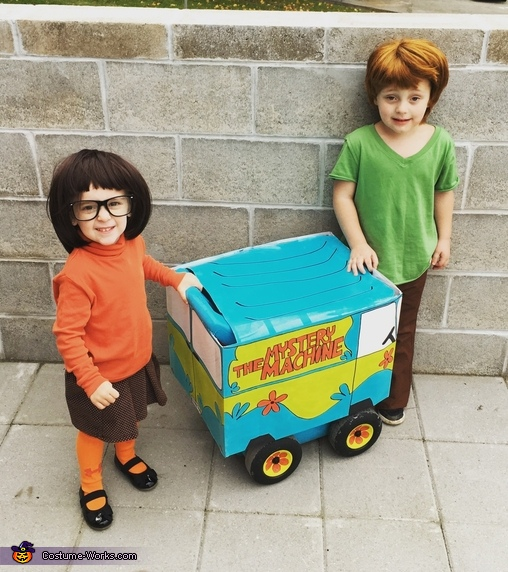 Velma and Shaggy with the Mystery Machine Costume