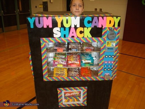 Candy was dispensed down where the skittles sign was, Vending Machine Costume