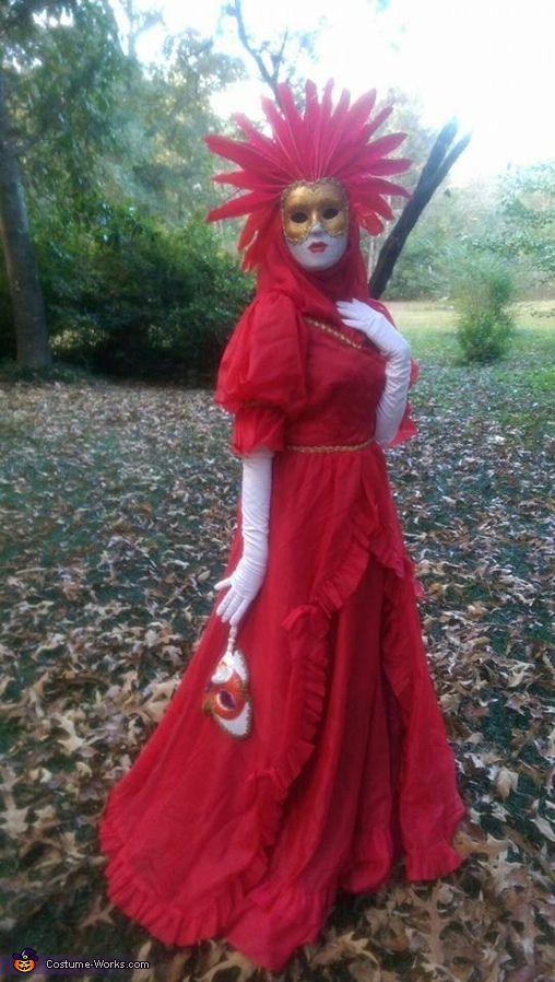 Full body image of the red lady costume , Venetian Carnival Couple Costume